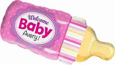 welcome baby bottle pink foil shape 39in/99cm