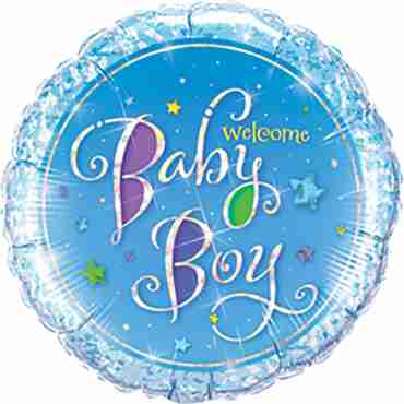 Welcome Baby Boy Stars Foil Round 9in/22.5cm