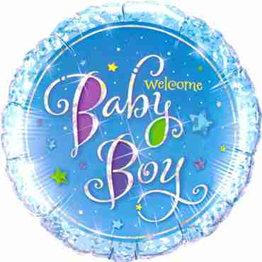 Welcome Baby Boy Stars Holographic Foil Round 18in/45cm