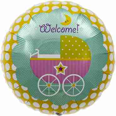 welcome baby buggy foil round 18in/45cm