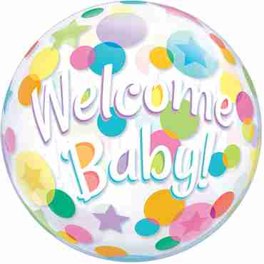 Welcome Baby Colourful Dots Single Bubble 22in/55cm