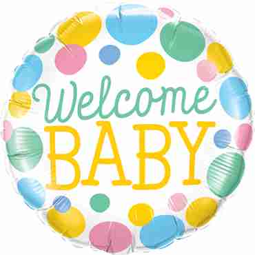welcome baby dots foil round 18in/45cm