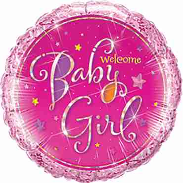 welcome baby girl stars foil round 9in/22.5cm