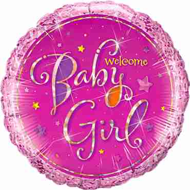 welcome baby girl stars holographic foil round 18in/45cm