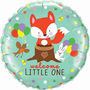 welcome little fox and friends foil round 18in/45cm