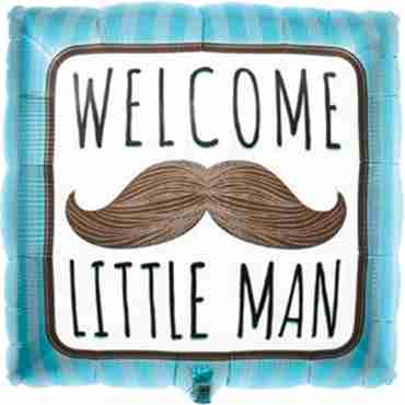 Welcome Little Man Foil Square 18in/45cm