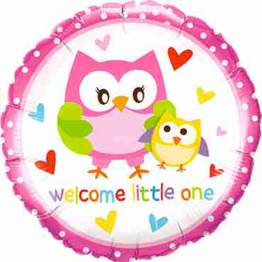 welcome little one owls foil round 18in/45cm