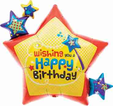 Wishing you Birthday Stars Foil Shape 26in/66cm