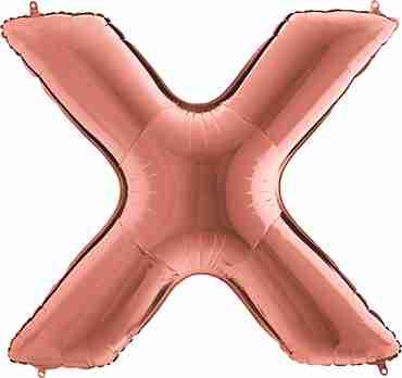 X Rose Gold Foil Letter 14in/36cm