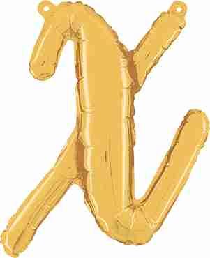 X Script Gold Foil Letter 14in/36cm