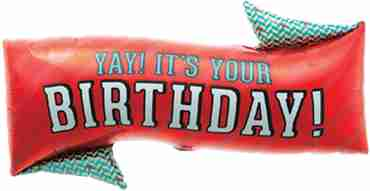 yay! birthday banner foil shape 31in/79cm