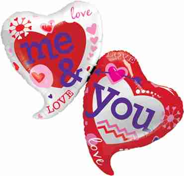 You and Me Two Hearts Foil Shape 42in/107cm