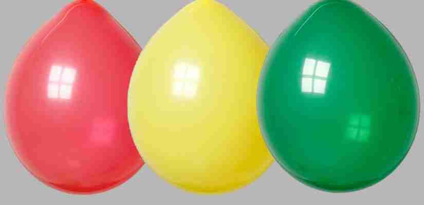 Zak met 100 Ballonnen nr 12 Rood Geel Groen