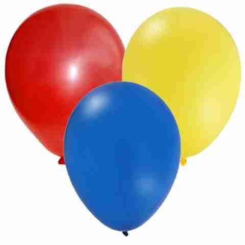 Zak met 50 Ballonnen nr 8 Rood Geel Blauw
