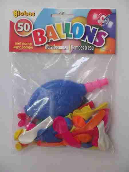 Zakje met 50 waterballonnen en waterpompje