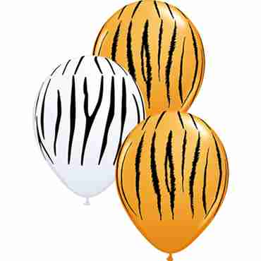Zebra and Tiger Stripes Standard Orange and Standard White Assortment Latex Round 11in/27.5cm