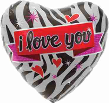 Zebra Love Foil Heart 18in/45cm