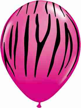 Zebra Stripes Fashion Wild Berry Latex Round 11in/27.5cm