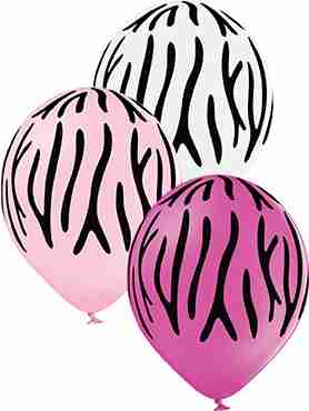 Zebra Stripes Pastel White, Pastel Pink and Pastel Rose Assortment Latex Round 12in/30cm
