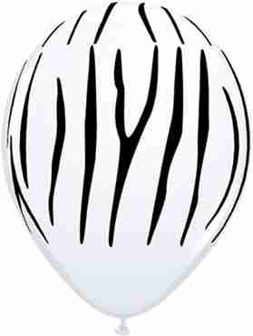 Zebra Stripes Standard White Latex Round 11in/27.5cm