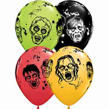 Zombies Assortment Standard Red, Fashion Goldenrod, Fashion Onyx Black and Fashion Lime Green Assortment Latex Round 11in/27.5cm