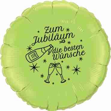 zum jubiläum die besten wünsche lime green w/black ink foil round 18in/45cm