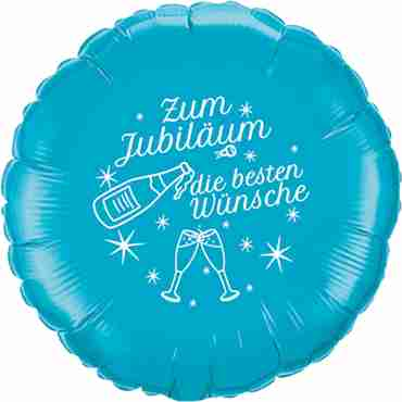 zum jubiläum die besten wünsche turquoise w/white ink foil round 18in/45cm