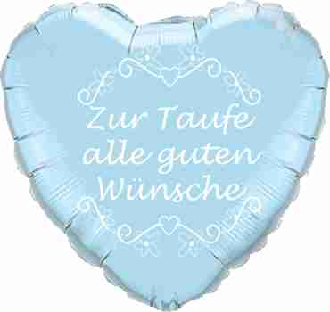 zur taufe alle guten wunsche iridescent pearl light blue w/white ink foil heart 18in/45cm