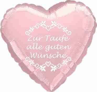 zur taufe alle guten wunsche metallic pearl pastel pink w/white ink foil heart 17in/43cm