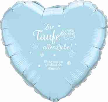 zur taufe alles liebe! kinder sind ein geschenk des himmels iridescent pearl light blue w/white ink foil heart 18in/45cm