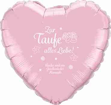 zur taufe alles liebe! kinder sind ein geschenk des himmels iridescent pearl pink w/white ink foil heart 18in/45cm