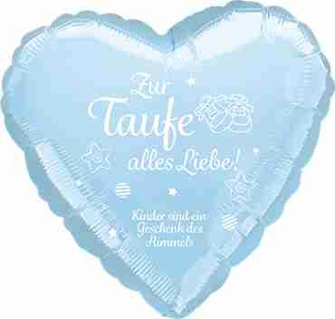 zur taufe alles liebe! kinder sind ein geschenk des himmels metallic pearl pastel blue w/white ink foil heart 17in/43cm