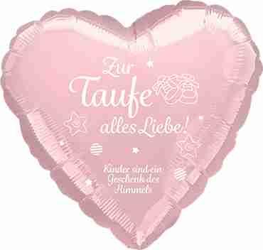 zur taufe alles liebe! kinder sind ein geschenk des himmels metallic pearl pastel pink w/white ink foil heart 17in/43cm