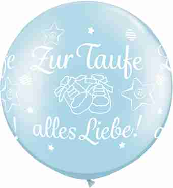 zur taufe alles liebe! pearl light blue latex round 30in/75cm
