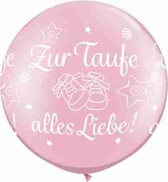 zur taufe alles liebe! pearl pink latex round 30in/75cm